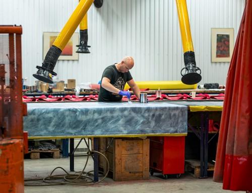 Löpband för skidåkare under tillverkning